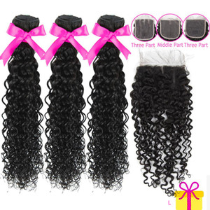 3pcs set Brazilian Hair Remy Water Wave Bundle With Closure 4x4 Top Human Hair Topper PrePlucked With Baby Hair Extentions