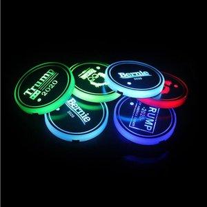 Автомобиль Luminous воды Coaster Mat Америка Выборы LED Красочные Интеллектуальные Luminous Cup Car Water Glass противоскольжения Mat 50шт T1I2046