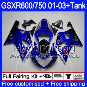 + Tanque Para SUZUKI GSXR 600 750 GSXR-750 GSXR600 Moldura azul brilhante 2001 2002 2003 294HM.52 GSX R750 R600 K1 GSX-R600 GSXR750 01 02 03 Carenagem