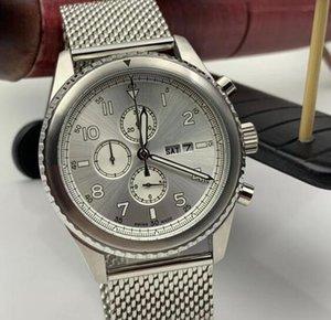 Militar y espacial de la fantasía para los hombres 1884 Breit relojes de cuarzo precisa reloj de pulsera legible dial de plata
