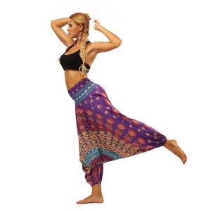 2019 Euro-American Women's Wear Indonesian Ethnic Style Digital Printed Yoga Broad-legged Lantern Pants Yoga Pants gym Pants