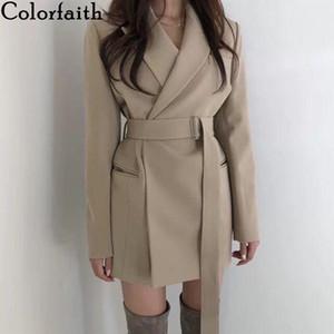 Colorfaith Nova 2019 de Mulheres Outono-Inverno Blazers Sashes longo Jackets entalhado Casacos Inglaterra sólida Estilo Cardigan Tops JK9715