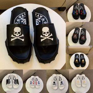 Sandales Designer Déclaration plat pour les hommes PP crâne fond engrenage Chaussons glissière caoutchouc luxe mens mode d'été de cause à effet Flip Flop