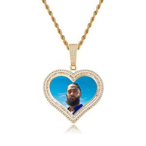 Designer Necklaces Luxury Bling Zircon 18K Gold Rhodium Plated DIY Hip Hop Men Women Love Heart Photo Necklace
