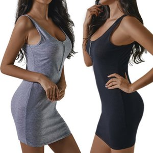 Abiti delle donne Scollo a V Zipper Summer Dress solido a tre colori 2018 della fasciatura Vestito estivo casuale sexy aderente Summer Dress Vestido