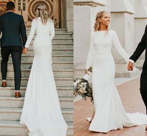 Modest vestidos de noiva sereia 2020 Long Sleeve Bateau Trem da varredura Cetim Country Garden vestidos de noiva vestidos de novia Plus Size