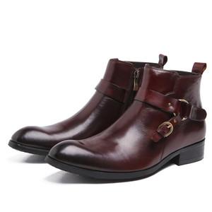 Men Leather Boots Men Buckle Formal Wear Cowhide Make-Style Black Brown Work Shoes Botas