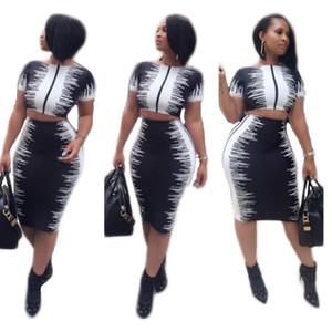 3XL Noir / Blanc Contraste Couleur Imprimé Mode Femme Deux Pièces Robe Set Casual O Cou À Manches Courtes Crop Tops Paquet Hanches Jupe Costume
