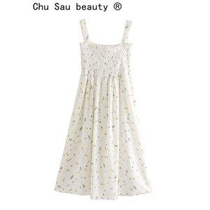 Chu Sau bellezza estate donne stampate bretella Dressb Blogger Raccomanda femminile casuale fresco partito Stretch Vestito longuette