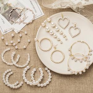Women's Earrings Pearl Hoop Drop Earrings For Women Heart Long Circle Earring Fashion Jewelry 2020 Geometric kolczyki Earing