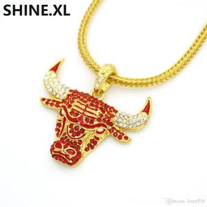 Голова коровы ожерелье Iced Out Cubic красный циркон ожерелье Золото Серебро Черный цвет Шарм цепи Hip Hop ювелирные изделия