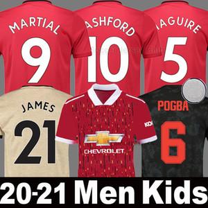 2020 2021 Camiseta de fútbol Manchester United 19 20 21 MAGUIRE POGBA LINGARD Man UTD MARTIAL RASHFORD JAMES WAN BISSAKA hombres mujere niños conjunto uniforme kits de fútbol