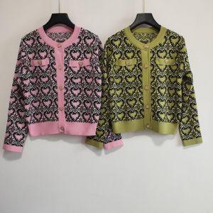 Milan Runway Sweater 2020 O Neck Long Sleeve Panelled Women's Sweaters High End heart Jacquard Cardigan Women Designer Sweater 0301-14