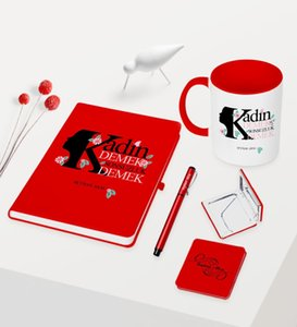 Personalized Custom Women Day Themed Red Notebook Pen Cup Mirror Set-3 Other Event Party Supplies