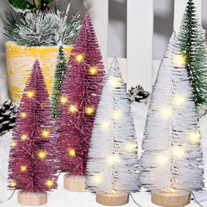 Decoraciones de la Navidad de visualización en escritorio con luces LED Pine Needles Quitar el polvo Mini árbol
