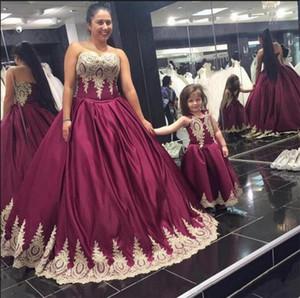 2020 or dentelle bal du soir Bourgogne Appliques Robes Princesse robe de bal chérie Mather et fille de festa Matching Longo Vestido