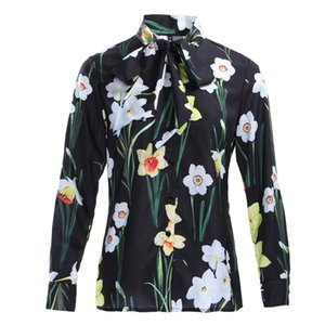 Plus Size 2019 Top Fashion Women Runway Floral Printing Shirt Bow Collar Flower Summer Slim Vintage Blouse High Quality