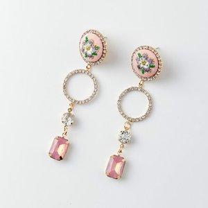 Cheap Drop New Fashion Sweet Romantic Geometric Pendant Earrings For Women Korean Flower Decoration Long Earrings For Girls Lovely Jewelry