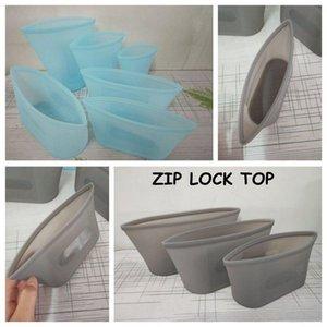 Wiederverwendbare Silikon-Nahrungsmittel Preservation Bag Airtight Seal Food Storage Container Versatile Silikon Tasche Zip-Lock TOP Camp Küche CCA11772 20set