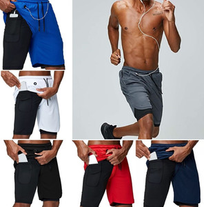 2020 New Men Running Shorts Sports Gym Compression Phone Pocket Wear Under Base Layer Short Pants Athletic Solid Tights Shorts Pants