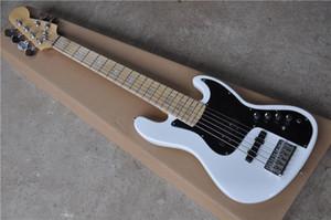 бесплатная доставка джазовая бас-гитара, 6 струнный электрический бас, корпус из липы, кленовый гриф, хромированная фурнитура, белый бас, активный аккумулятор