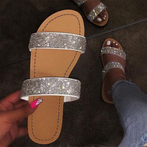 Летняя Обувь Женские Сандалии Для Женщин 2020 Bling Flat Rhinestone Ladies Beach Sandles Designer Luxury Sandalias Mujer Sandels