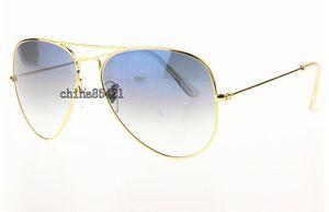 Tropfen-freier Verschiffen-Mens-Frauen-Steigungs-Sonnenbrille-Strand-Sonnenbrille-Goldmetallrahmen-blaue Glaslinsen UVschutz mit Kasten und Kästen