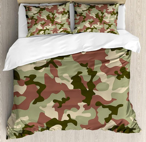 Camo Duvet Cover Set Illustrated Green Camouflage in Forest Colors Combat Bedding Set Dried Rose Dark Green Army