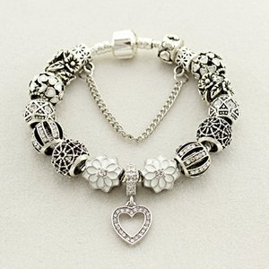 Plata Fit Pandora fábrica plateado corazón de cristal granos del cristal de plata blanco melocotón pulseras del corazón del amor gotea la pulsera Pétalo colgante