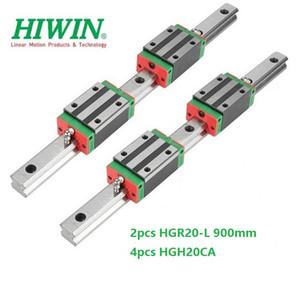 2pcs Original New HIWIN HGR20 - 900mm linear guide rail + 4pcs HGH20CA linear narrow blocks for cnc router parts