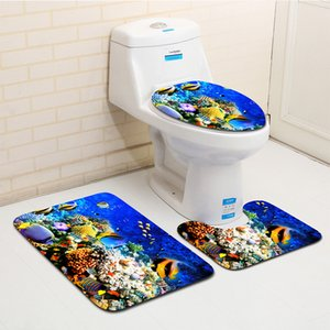 La decoración del hogar Dolphin baño Mat Conjunto 3D El mundo submarino Baño Ducha Alfombra de baño WC cubierta de la tapa de alfombras Alfombras Mat Baño