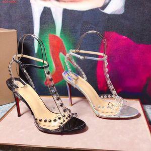 Faridaravie open toe sandal 19ss collezione estiva Sexy Fashion Women PVC borchie arrotondate 100mm tacco a spillo vestito partito cosparso di sandali
