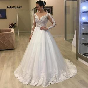 SATONOAKI Vestidos De Noiva una linea di abiti da sposa L'innamorato Appliques del merletto perline maniche lunghe e schiena scoperta Matrimonio Abito da sposa per la sposa