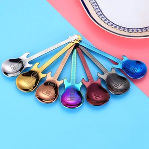 1 Pcs High Quality Stainless Steel Cartoon Guitar Spoon Creative Milk Coffee Spoon Ice Cream Candy Teaspoon Accessories