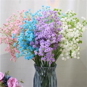 """Flor de Gypsophila plástica Artificial Gypsophila estrellada 22.44 """"para flores decorativas florales blanco / púrpura / verde / azul / rosa"""