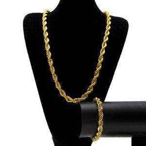 Хип-хоп ювелирные наборы высокой полированной твист цепи цепи хип-хоп веревка ожерелье браслеты мужчины модный стиль золото серебро 6 мм 10 мм