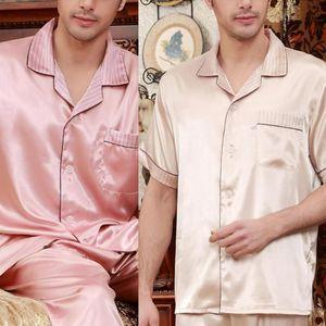 Erkekler Simülasyon İpek Pajama Casual Kısa Kollu Aşağı Yaka Üst Pantolon Pijama Yumuşak Rahat Saten Gecelik Erkekler Yaz çevirin