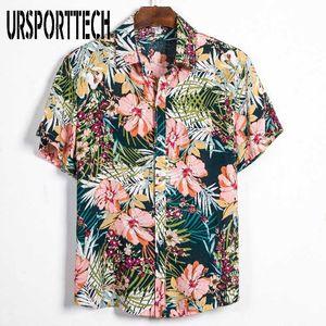 Мужские повседневные рубашки Ursporttech летний пляж для мужчин мода с коротким рукавом свободный цветочный стенд воротник цветок гавайская рубашка