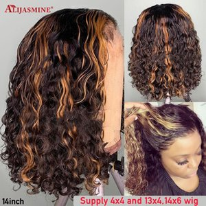 Transparent HD Lace Wig Ombre Brown Short Curly Bob Wig For Women Highlight 13x6 Lace Front Human Hair Wigs 4X4 Closure Remy