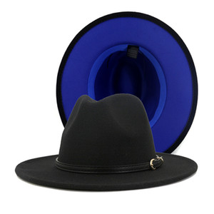 Lã 2.020 Mulheres Moda Homens Patchwork Artificial Felt Fedora chapéus com Cap Panama Jazz Brim Belt Buckle Double-Sided Color Plano