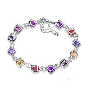 Diamond Charm Bracelet Jewelry for Women 925 Sterling Silver Plated Lady Girls Gift Fashion Colorful White Crystal Box Bracelet with Lobster