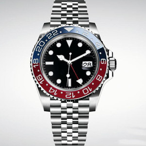 Üst Mens Watch Otomatik Mekanik Saatler GMT Paslanmaz Çelik Mavi Kırmızı Seramik Safir Cam 40mm Erkekler Saatler Bilek Saatler