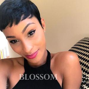 Finden Sie ähnliche kurze menschliche Pixie Lace Front Hair Perücken für schwarze Frauen glueless kurze Bob capless Perücke mit dem Babyhaar
