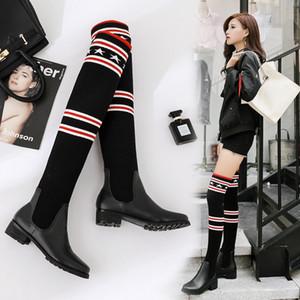 2019 New Moda Mulheres Elastic Força Meias Botas Sexy Ladies Magro Leg Over-the-knee Botas Botas Meninas da neve Designer Marca Casual Sapatos