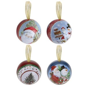 Santa Claus Snowball Pattern Tin Box Candy Gifts Box Christmas Decor Supply