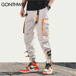 Gonthwid Çok Cepler Kargo Harem Jogging Yapan Pantolon Erkekler Hip Hop Moda Rahat Parça Pantolon Streetwear Harajuku Hipster Sweatpants Y19073001