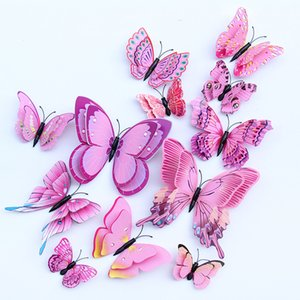12 unids Multicolor Doble Capa Alas 3D Mariposa Etiqueta de La Pared Imán PVC Mariposas Partido Niños Dormitorio Nevera Decoración Magnética