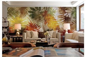 Wholesale-Custom 3d silk photo mural wallpaper Southeast Asian style palm tree leaf art mural background wall paper Papel de parede