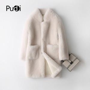 PUDI A17833 reales de las lanas de invierno cálido abrigo de piel genuina de cuero de la PU de las mujeres de la chaqueta del abrigo de pieles de abrigo en el interior SH190930 de color crema