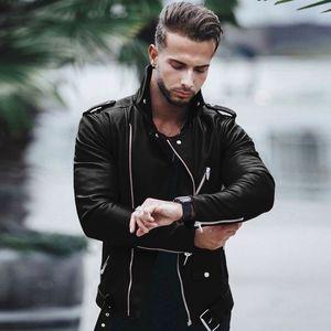 Mens Plus Size-Motorrad PU-Lederjacken Geschäft Fitness Mäntel Leder Herbst-Winter-Slim Fit Jacken Male Tops